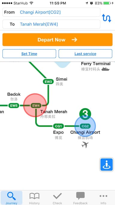From Singapore Changi Airport MRT,  it's just 2 stops away to Tanah Merah MRT. It's a 2mins walk from Tanah Merah MRT to my place