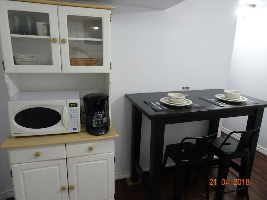 microwave and coffeemaker for your use and anything inside the cabinet (dishes, toaster, etc)