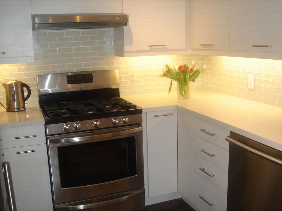 Kitchen with Quartz counter tops, breakfast counter, new appliances, joy and pride of apt.!