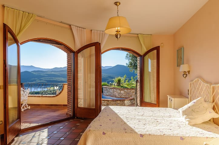 Master bedroom & stunning view & second exit to the pool