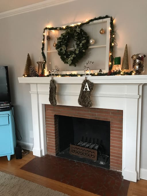 Working wood fireplace with gas starter in the living room