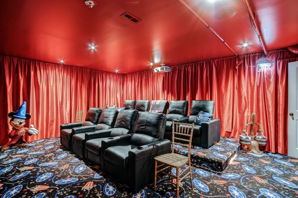 Mind Blowing, 15 person THX Full Cinema/Theater.  Watch movies, Blue Ray DVD player, videos, play games, party!  This cinema is state of the art.  We have a PlayStation 3 for your use!
