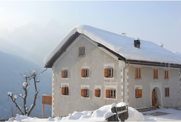 Old renovated house in the Swiss Alps