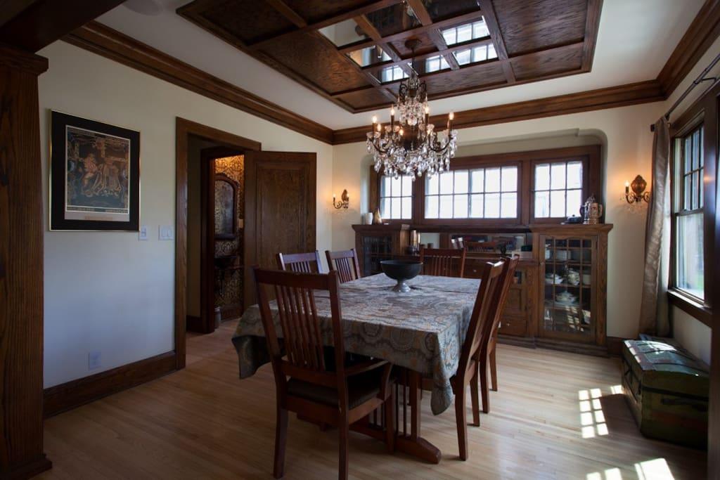 Formal Dining Room with custom oak ceiling