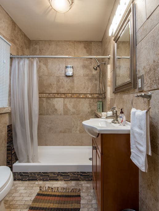 Tile bathroom with large shower (no tub)
