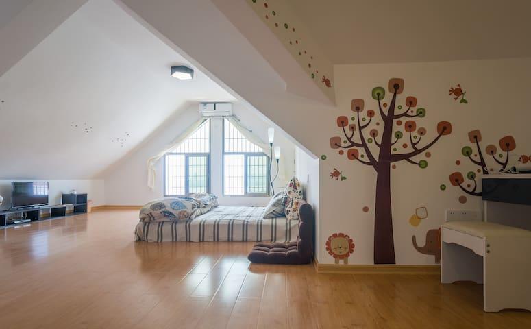 独立房间双床-亲子Loft湖景风-集美学村 - Xiamen - Apartemen