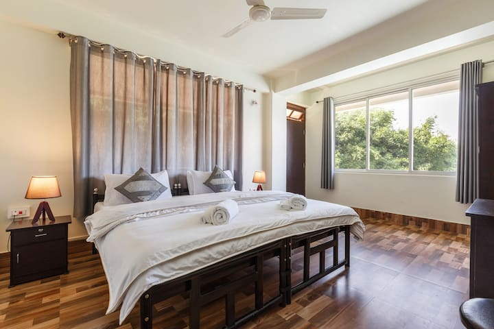 Master Bedroom - Our Master Bedroom is well light and spacious.We provide premium hotel standard linen and our rooms are heated.