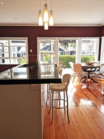 Spacious kitchen area with second dining table
