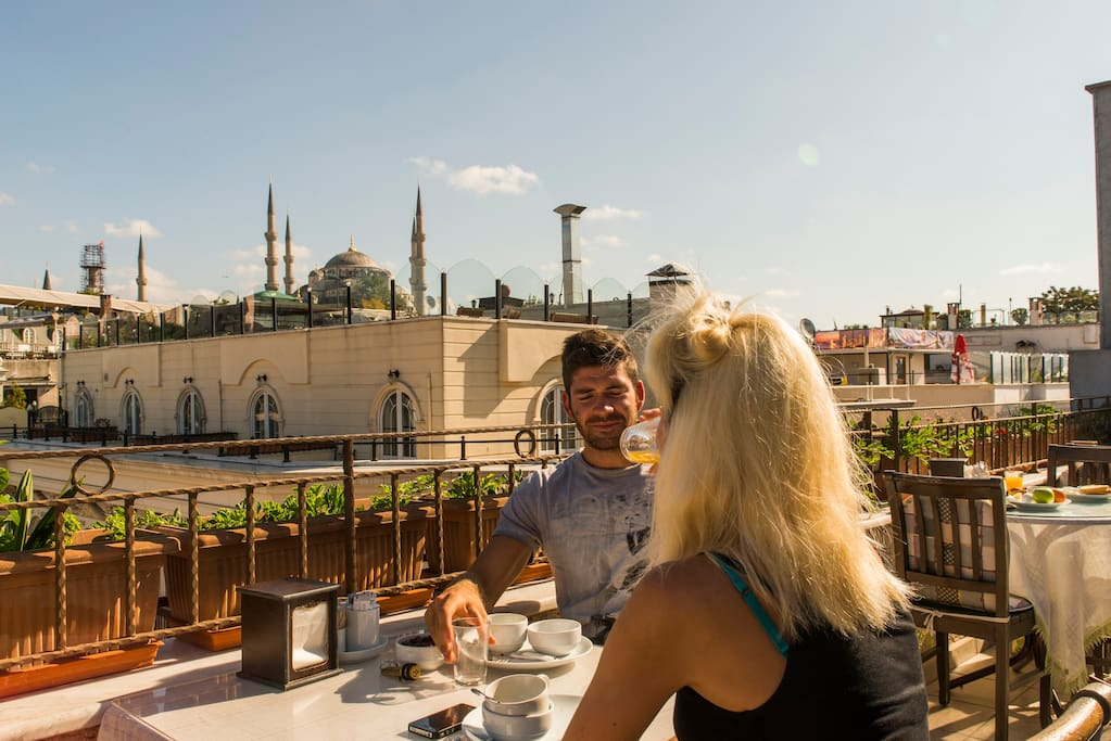 Top terrace with beautiful view of the famous Blue Mosque