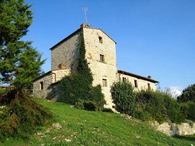 Medieval tower with garden in Radda in Chianti