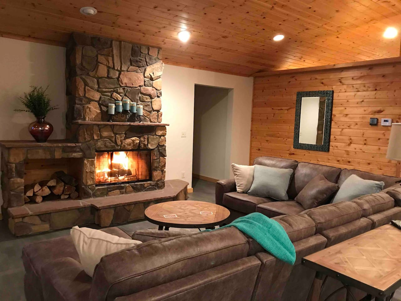 Fireplace with wood to burn and homemade fire starters.