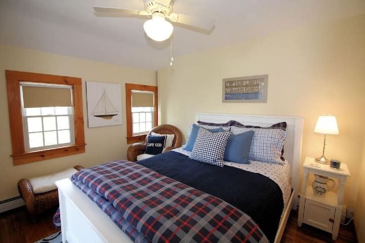 Private Bedroom - Queen bed, ceiling fan, A/C unit, Cable TV, Roku Streaming, 2 east facing windows overlooking private patio