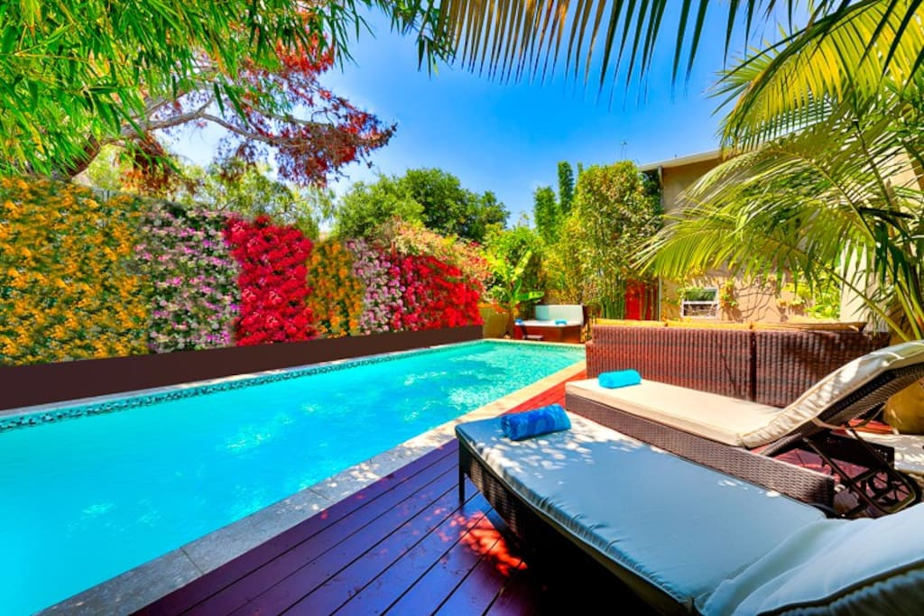 Newly remodeled backyard is the perfect place to relaxed with your own private pool and hot tub.