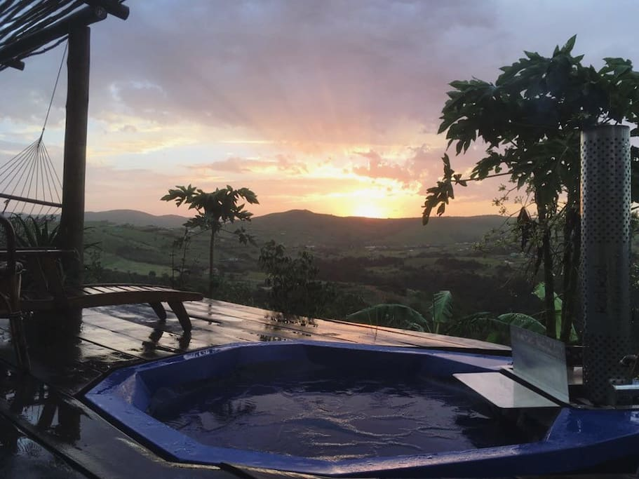 Sunset from the wood fired hot tub.