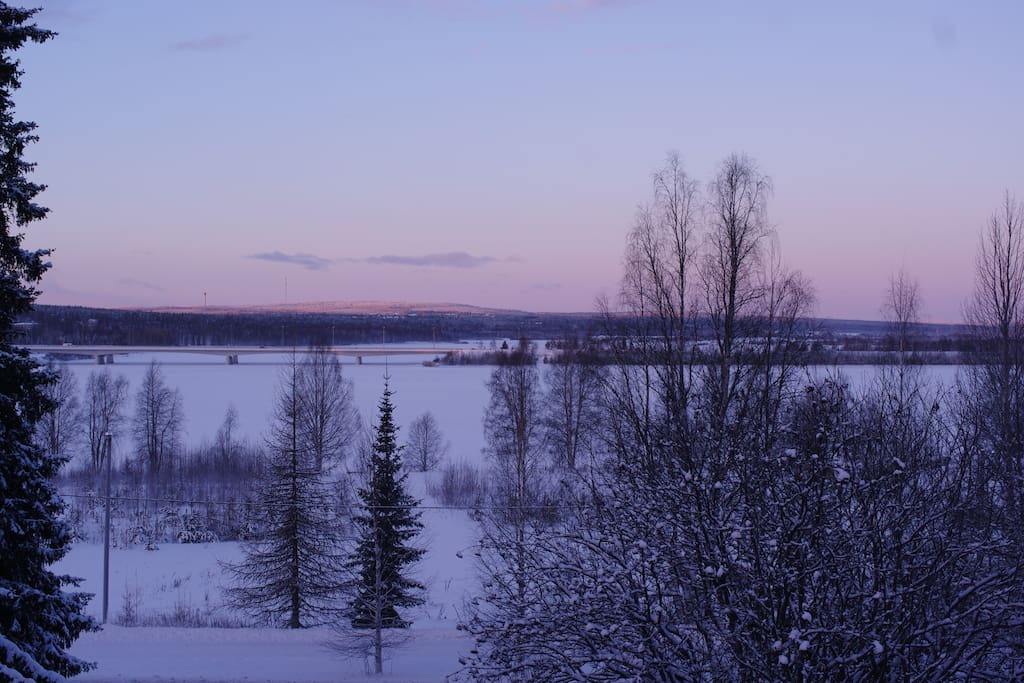 From the balcony can see to Kemijoki, evening sun and midnight sun.