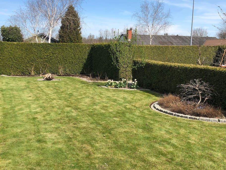 Privat have med bålplads
