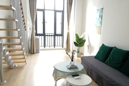 清新简约田园风复式公寓可煮饭洗衣可停车