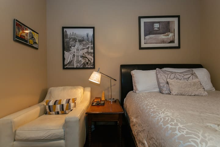 Relax in your Private Queen Bedroom, Club chair, TV with HBO Now, Hulu, Amazon Prime