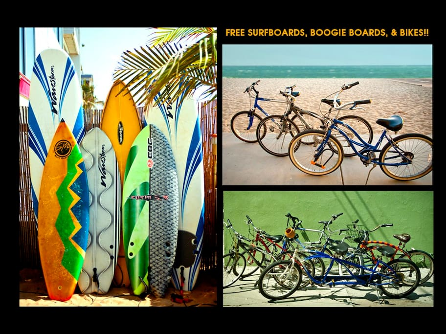 FREE surf boards, boogie boards, wetsuits and bicycles!