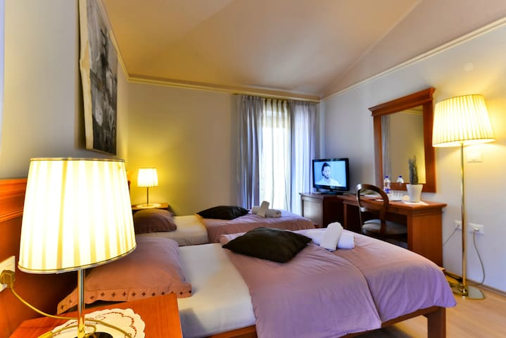 Bedroom with two single beds 2x80x200, two bedside tables with night lamps, desk, chair, mirror and flat-screen satellite TV