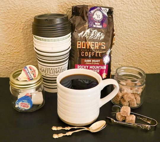 Time to get caffeinated! We provide you everything you could need to enjoy your own good cup of coffee in your room.