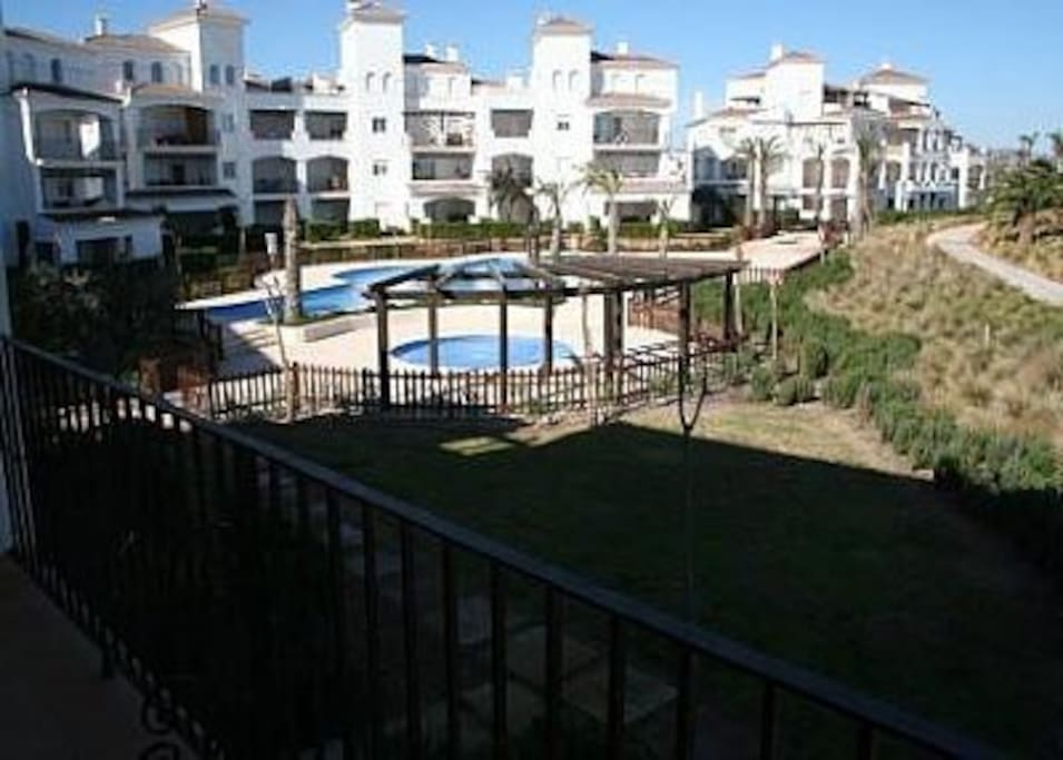 View of the pool from the dual aspect balcony
