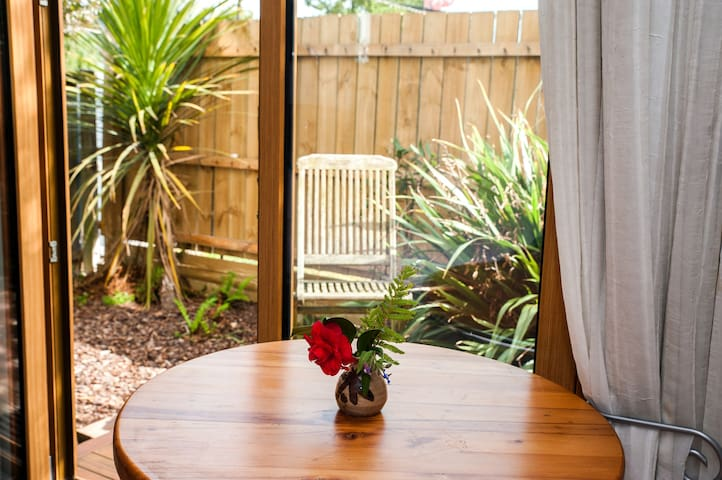 view from table out to native garden