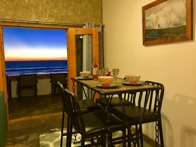Dining room with ocean view.