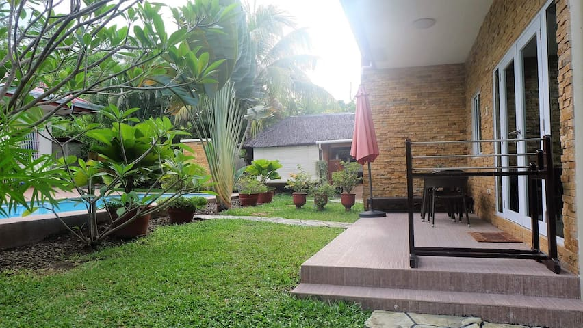 The outdoor patio, great for relaxation.