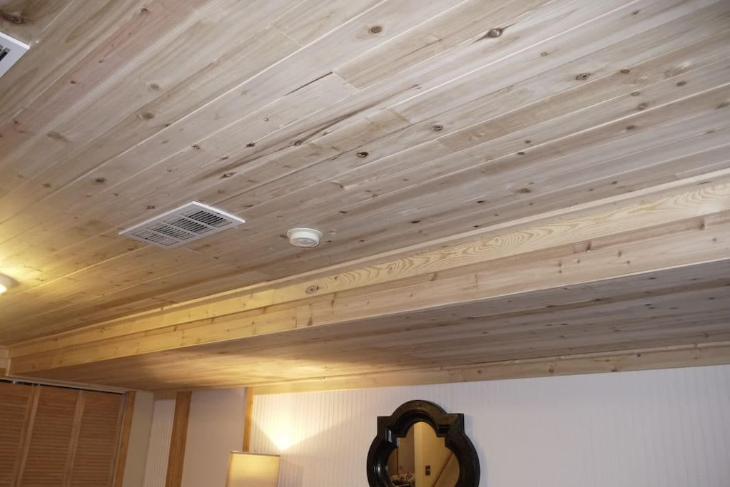 Beautiful, new cedar ceilings in the common area. Show photo list