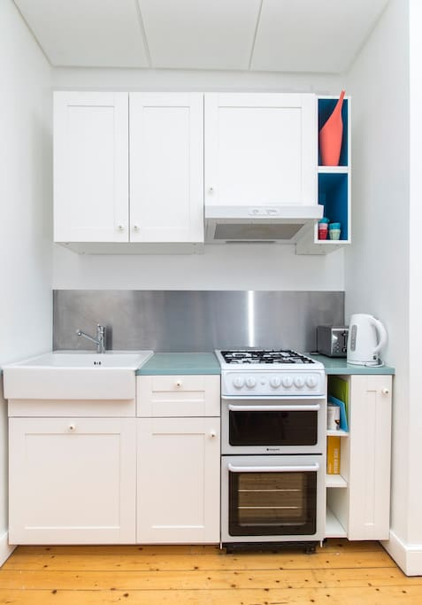 Kitchen - everything you need, including cooker with hob and grill, kettle and toaster.