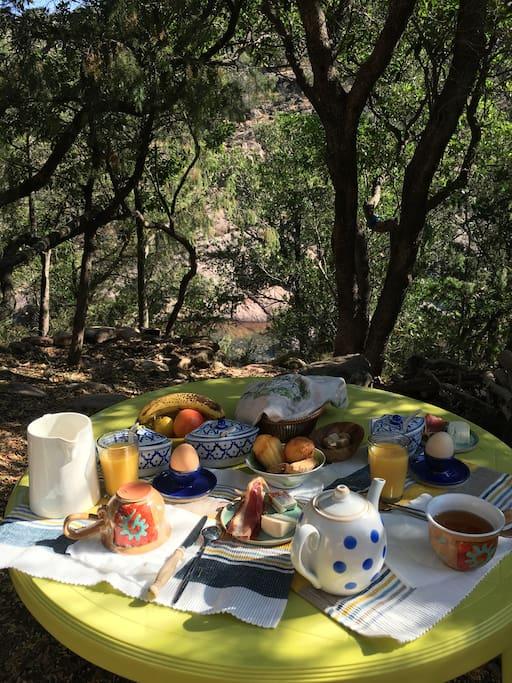 Petit déjeuner avec vue sur le torrent