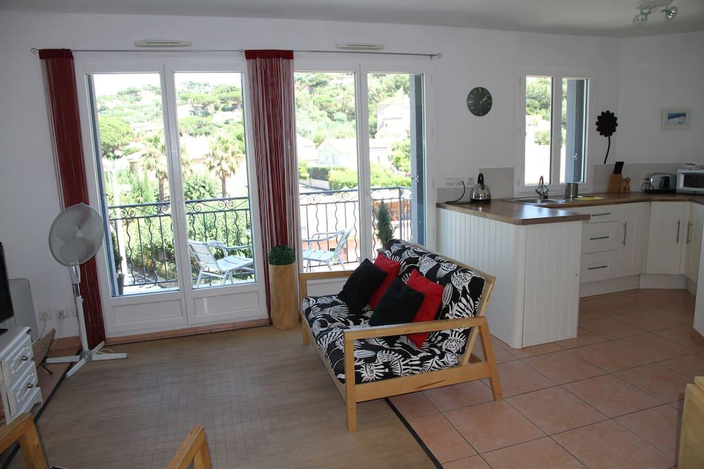 Living area onto balcony