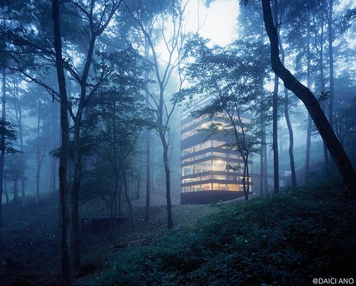 『輪の家』-木立の中に浮かぶ空間ー 非日常を満喫してください。★長期ご宿泊歓迎★