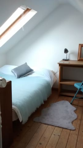 Loft double bed with desk space