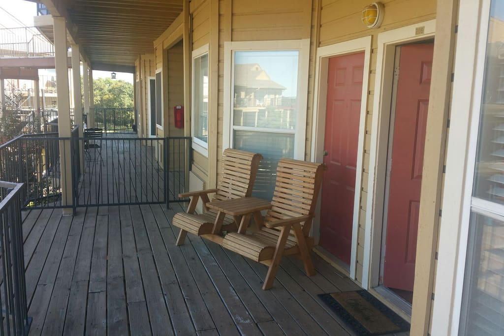 Plenty of private deck space with seating for everyone. A bonus side deck of the master bedroom.