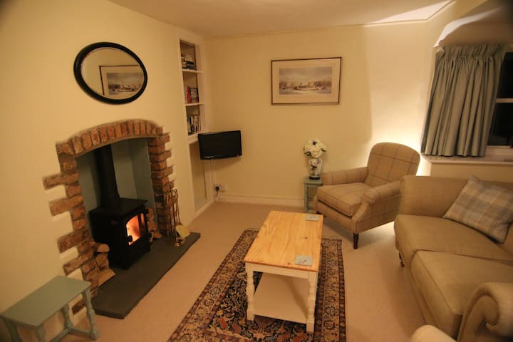 Living room,  wood burning stove and TV.