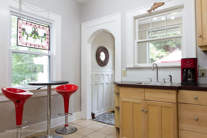 There is a table and chairs in the kitchen for a more intimate setting.