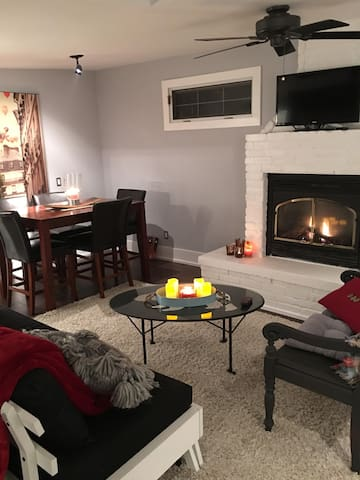 Evening glow of the gas fireplace perfect for any occasion.