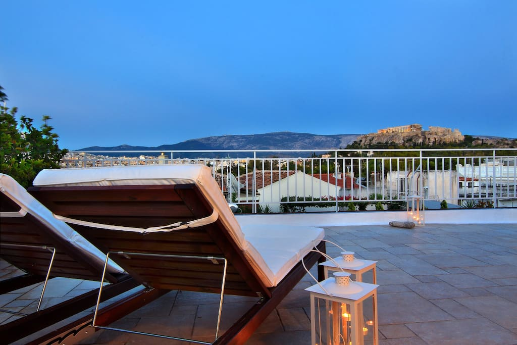 Balcony Exterior Lounge And Acropolis View