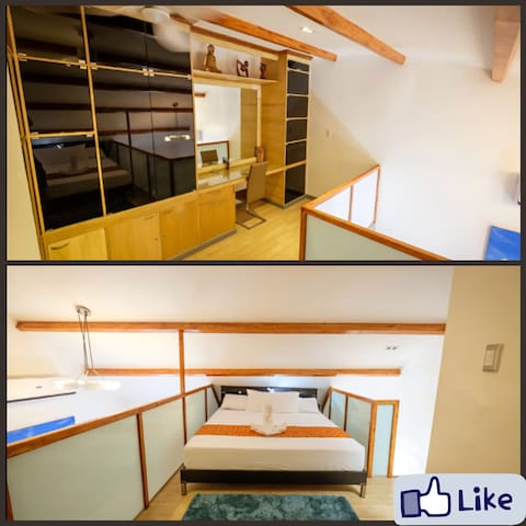 Spacious design at the Loft with King sized bed, with Smart Tv link to Netflix and with own bathroom.