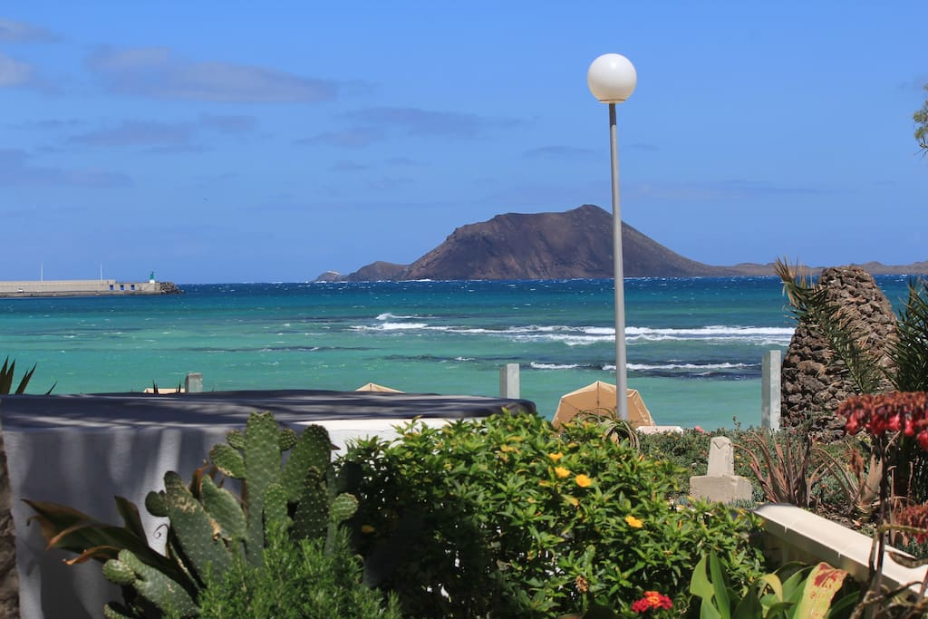 View from the terrace over the beach to Lobos