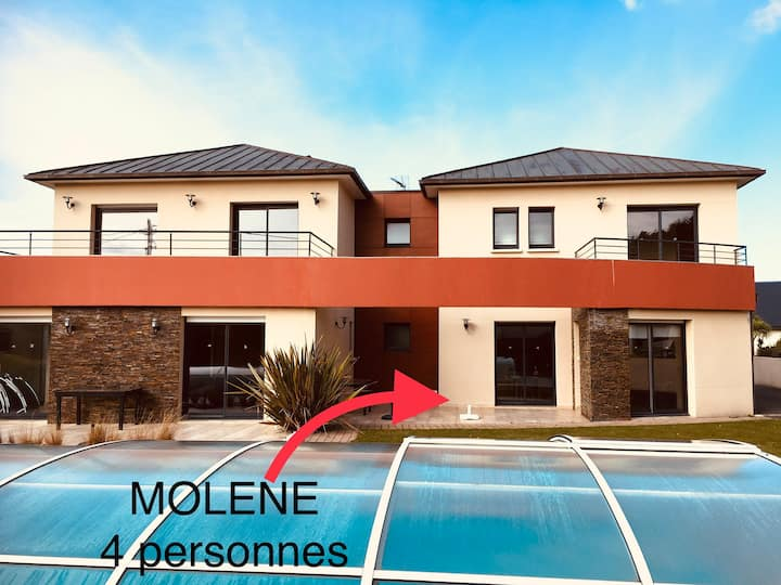 Molène appt dans villa avec piscine - Plage à 300m