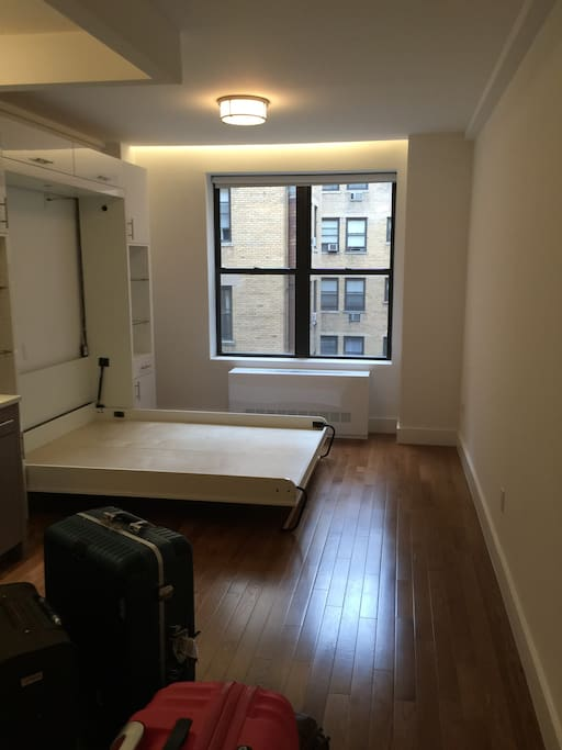 this photo is shot when i first moved in. now the is a mattess and i can provide bed sheets if you need. There are also more furnitures now.