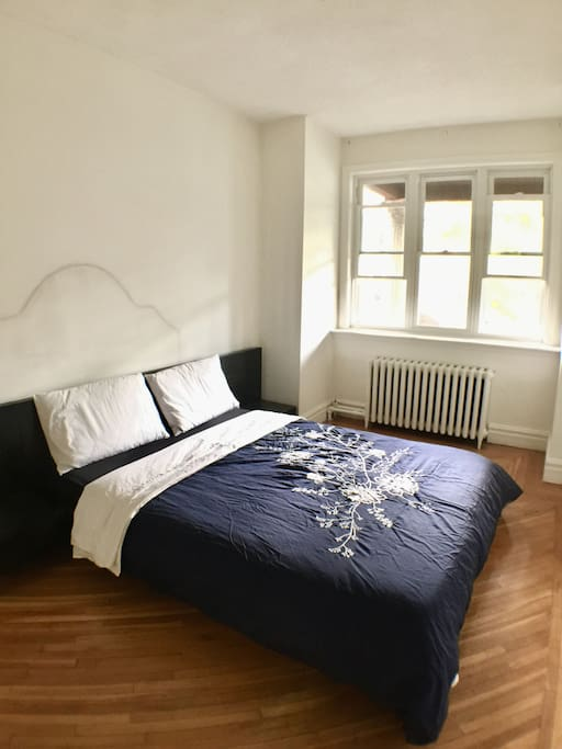 The first room when you walk in the spacious bedroom. All sheets 100% cotton and a soft plushy mattress guaranteeing you a great night of sleep.