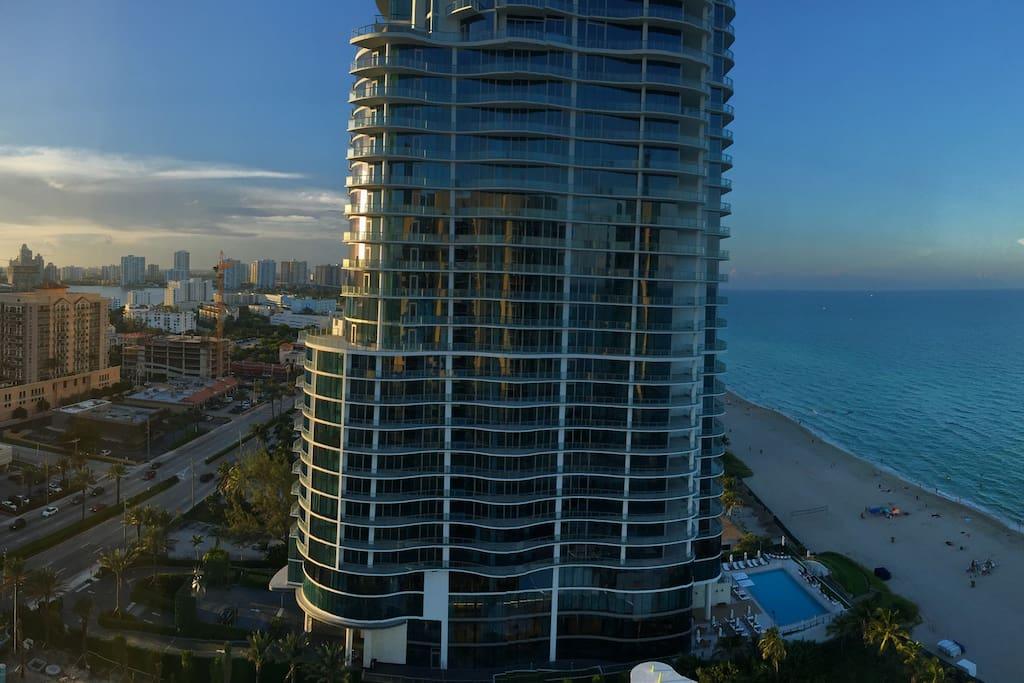 Great view city and Atlantic ocean