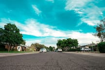 Street view of the beautiful and quiet historic neighborhood you will be staying in.