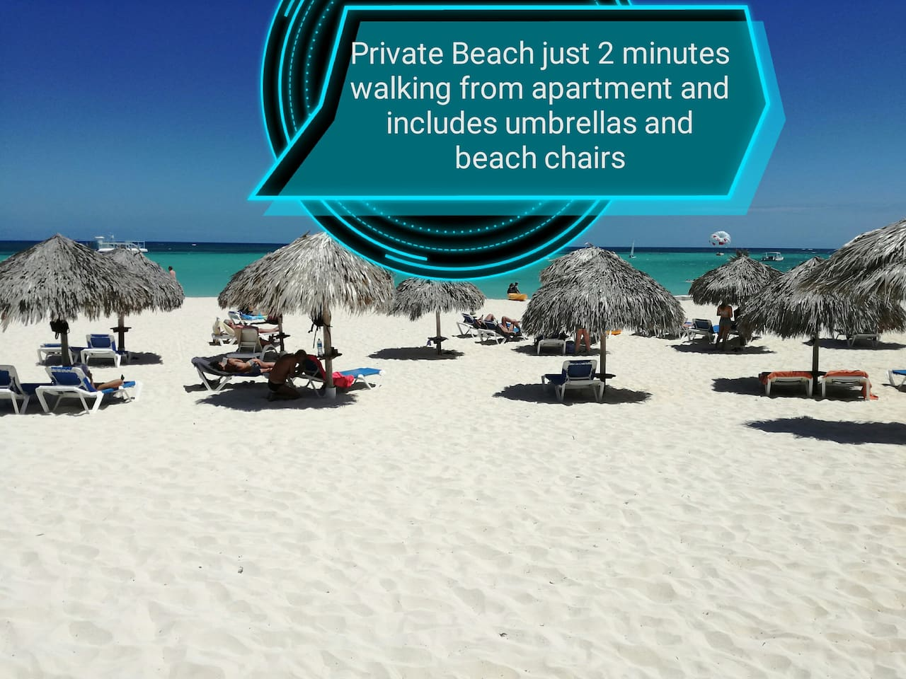 Amazing private beach includes umbrellas and beach chairs
