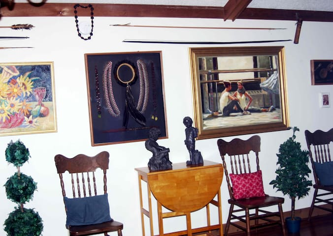 Spacious Front Sitting  Room. Artifacts from Venezuelan Rain Forest