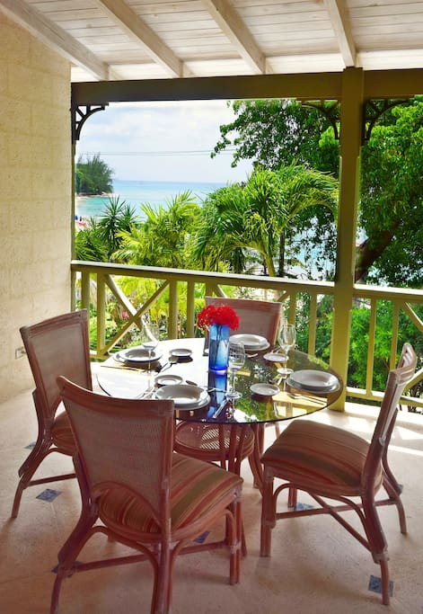 Enjoy views of the Caribbean Sea and stunning sunsets from this perch above Mullins Beach